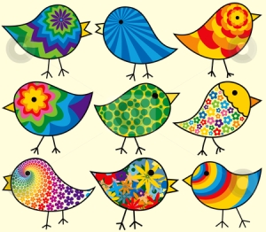 Image source: Nine colorful birds via cutcaster.com